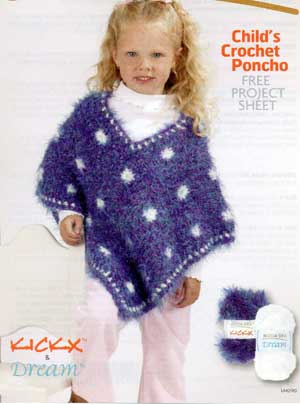 Childs Crochet Poncho Lm0190 Purple Kitty