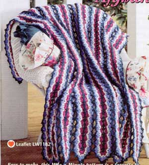 2 Shell Afghans Mile A Minute Crochet Pattern Instructions from a magazine