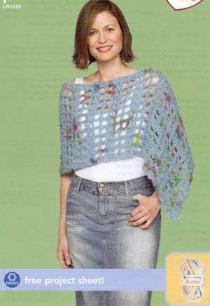 Crochet Poncho Lw1520 Purple Kitty