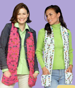 Knit Crochet Pocket Scarves Lw1521 Purple Kitty
