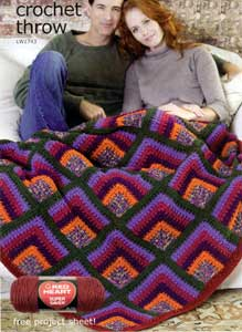 Free Vest Patterns And Crochet And Yarn Purple Kitty : Rich Mitered Crochet Throw LW1743 Purple Kitty