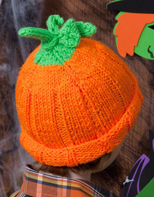 Knit Pumpkin Hat Pattern LW2829 Purple Kitty