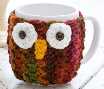 Free Vest Patterns And Crochet And Yarn Purple Kitty : Owl Mug Wrap LW2921 Purple Kitty