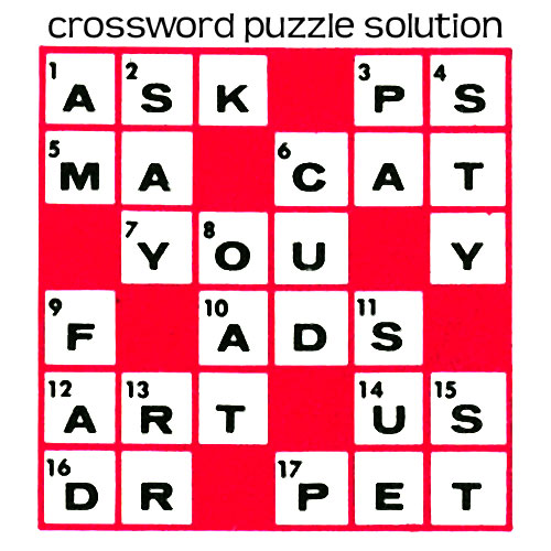 Quick Crossword Puzzle Purple Kitty