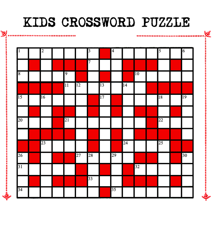 photo regarding Crossword Puzzles for Kids Printable called Children Printable Crossword Puzzle Red Kitty