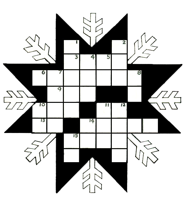 Snowflake Kids Printable Crossword Puzzle
