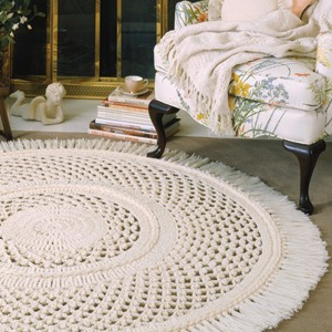 Karoshia Knitting : Large Picot Lace Rug Crochet Pattern Purple Kitty