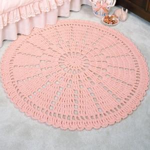 Wheel Lace Rug Crochet Pattern Purple Kitty