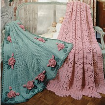 Rose garden afghans crochet patterns purple kitty number of designs 2 afghans approximate design size roses roses afghan 50 x 73 filet afghan 48 x 72 designer terry kimbrough dt1010fo