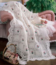 Rosebud crochet afghan pattern purple kitty number of designs 1 afghan size 43 12 x 63 12 designer terry kimbrough original publication leisure arts leaflet 3036 romancing the rose dt1010fo