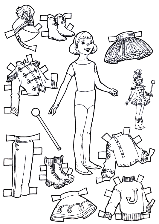 playtime paper dolls to color and cut out
