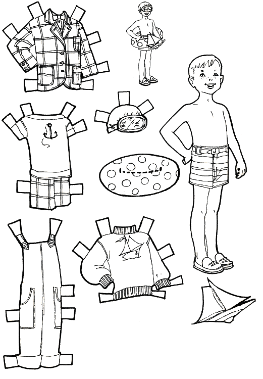 Vacation paper dolls to color and cut out purple kitty for Paper doll templates cut out
