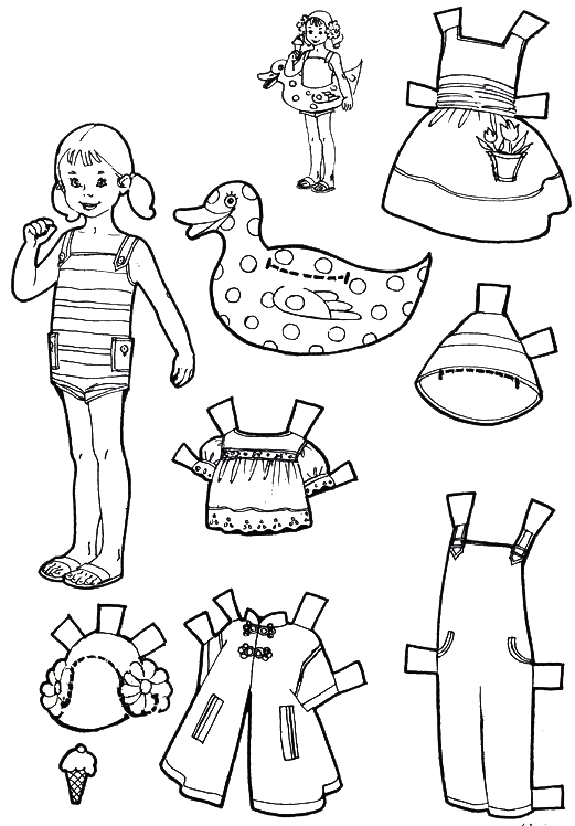 vacation paper dolls to color and cut out purple kitty