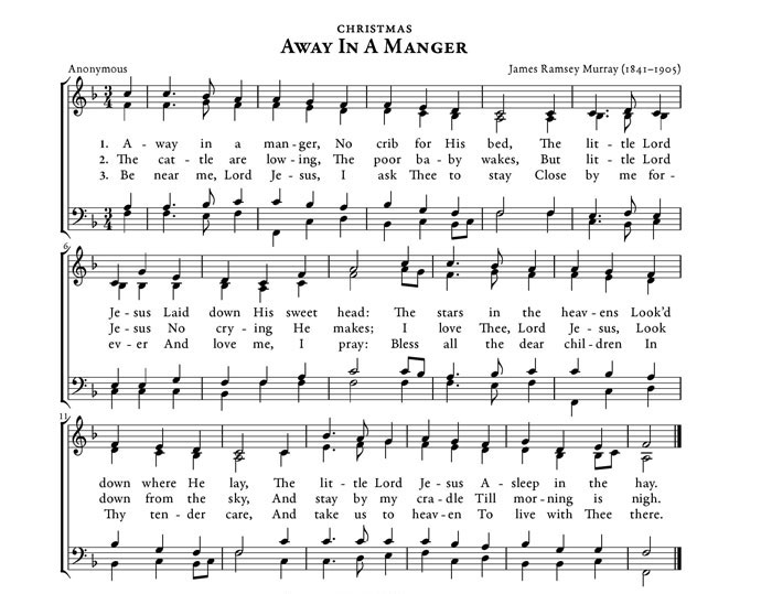 Free Christmas Sheet Music.Away In A Manger Christmas Carol Purple Kitty