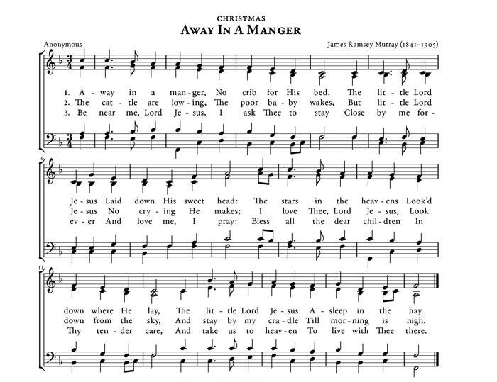 christmas songs like away in a manger music