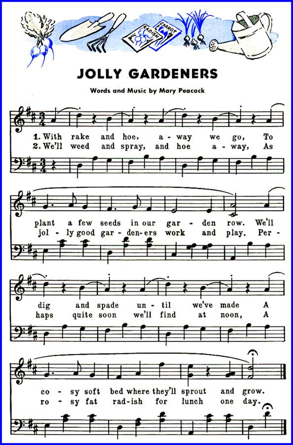 Jolly Gardeners Song Lyrics & Sheet Music | Purple Kitty