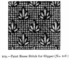 Point Russe Stitch for Slipper (No. 208)